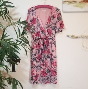 Loft floral faux wrap dress size L